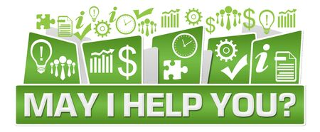 May I Help You Business Symbols On Top Green