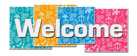 Welcome Business Texture Colorful Blocks Standard-Bild