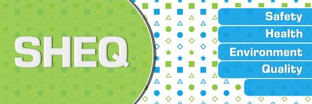 SHEQ - Safety Health Environment Quality Green Blue Basic Shapes Text Horizontal Banco de Imagens