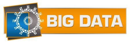 Big Data Orange Blue Dotted Gear Horizontal