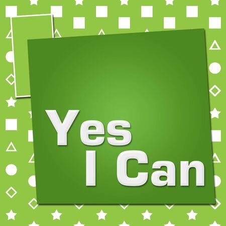 Yes I Can Green Basic Symbol Squares Stock fotó