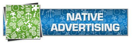 Native Advertising Green Left Symbols Blue Text Фото со стока