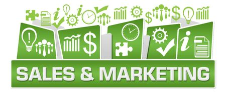 Sales And Marketing Business Symbols On Top Green