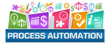 Process Automation Business Symbols On Top Colorful