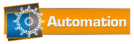 Automation Orange Blue Dotted Gear Horizontal