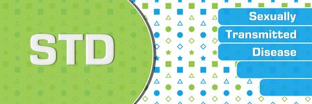 STD - Sexually Transmitted Disease  Green Blue Basic Shapes Text Horizontal