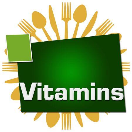 Vitamins Spoon Fork Knife Circular Green Squares
