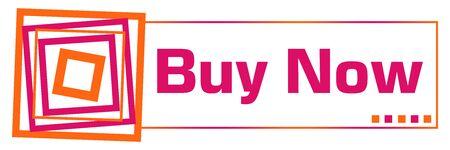 Buy Now Pink Orange Squares Horizontal Stock Photo