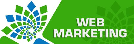 Web Marketing Green Blue Circular Rounded Squares Blue