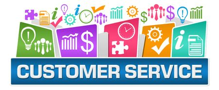 Customer Service Business Symbols On Top Colorful Stock Photo