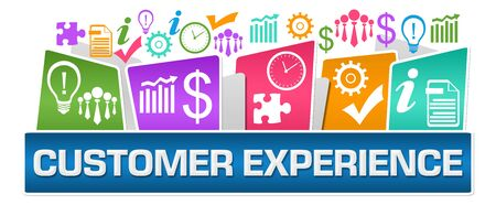 Customer Experience Business Symbols On Top Colorful Stok Fotoğraf