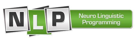NLP - Neuro Linguistic Programming Green Grey Squares Bar Stock Photo