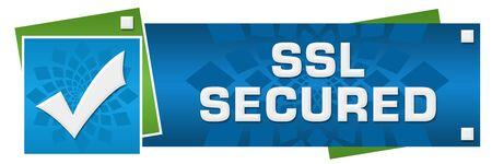 SSL Secured Green Blue Circular Floral Horizontal Stock Photo