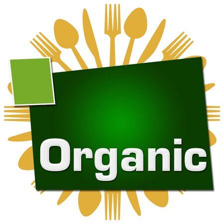 Organic Spoon Fork Knife Circular Green Squares Stock Photo