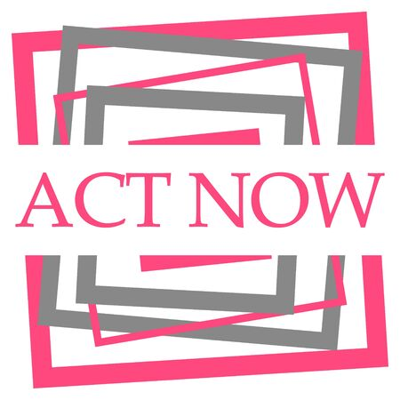 Act Now Pink Grey Squares Border
