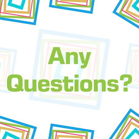 Any Questions Colorful Squares Border Background