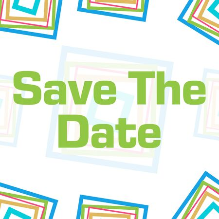 Save The Date Colorful Squares Border Background Banco de Imagens