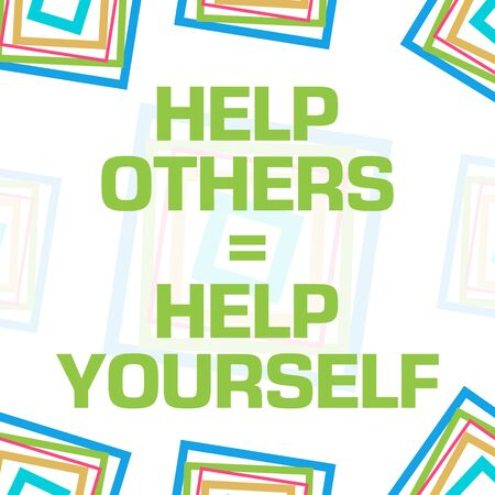 Help Others Help Yourself Colorful Squares Border Background Banco de Imagens