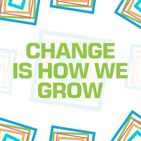 Change Is How We Grow Colorful Squares Border Background Banco de Imagens
