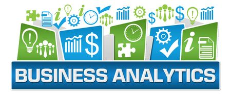 Business Analytics Green Blue Business Symbols On Top