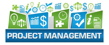 Project Management Green Blue Business Symbols On Top
