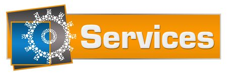 Services Orange Blue Dotted Gear Horizontal Standard-Bild