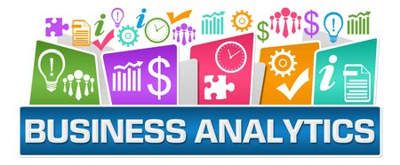 Business Analytics Business Symbols On Top Colorful