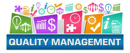 Quality Management Business Symbols On Top Colorful