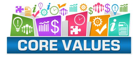 Core Values Business Symbols On Top Colorful