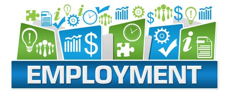 Employment Green Blue Business Symbols On Top