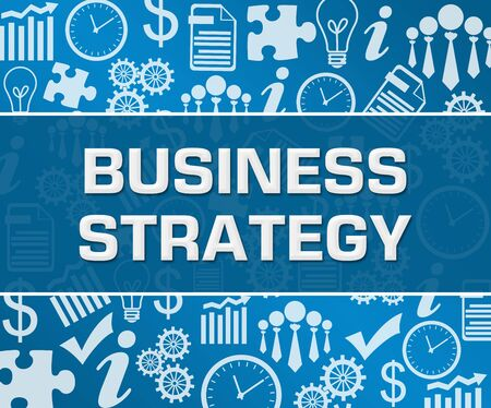Business Strategy Business Symbols Texture Blue Background Square
