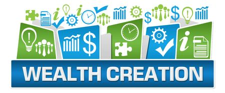 Wealth Creation Green Blue Business Symbols On Top