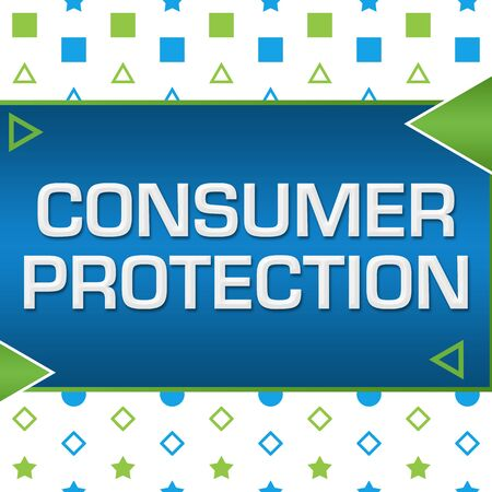 Consumer Protection Green Blue Basic Shapes Triangles Standard-Bild