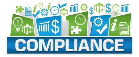 Compliance Green Blue Business Symbols On Top Stock Photo