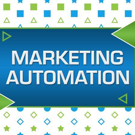 Marketing Automation Green Blue Basic Shapes Triangles Foto de archivo