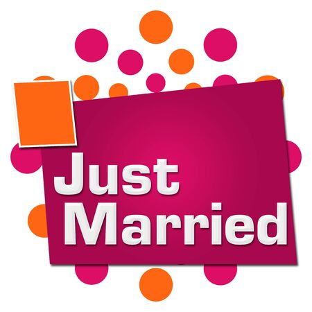 Just Married Pink Orange Dots Squares
