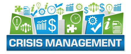 Crisis Management Green Blue Business Symbols On Top