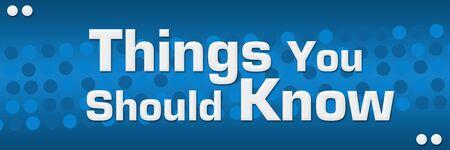Things You Should Know Blue Dots Background Foto de archivo
