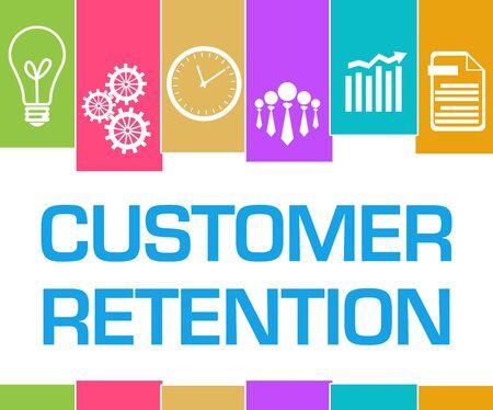 Customer Retention Colorful Stripes Symbols Stock Photo