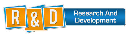 R And D - Research And Development Blue Orange Squares Bar
