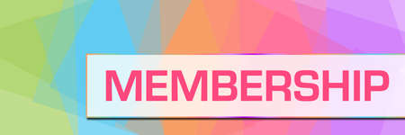 Membership text written over pink colorful background.