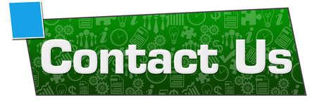 Contact us written over green blue background. Reklamní fotografie
