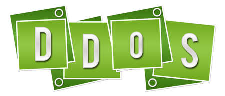 DDoS text written over green background.