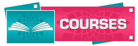 Courses text written over pink turquoise background. 免版税图像