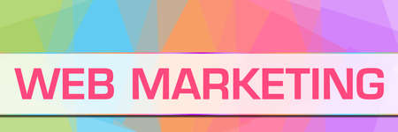 Web marketing text written over colorful background.