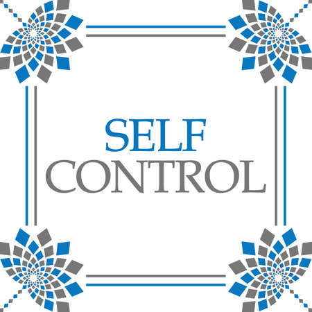 Self control text over blue grey background.