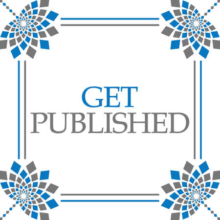 Get published text written over blue grey background.