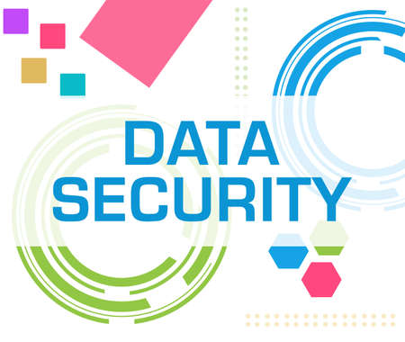 Data security text written over blue colorful background. Stock fotó