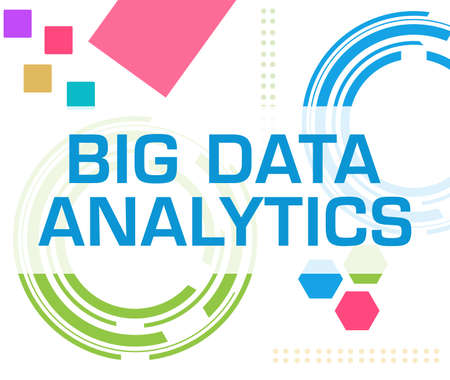 Big data analytics text written over blue colorful background.