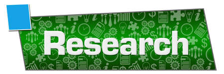 Research text written over green blue background.
